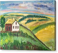 Farmhouse On A Hill Acrylic Print by Diane Pape