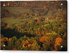 Farmlands And George Washington Natl Acrylic Print by Raymond Gehman