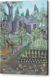 Acrylic Print featuring the painting Farmstead by Virginia Coyle