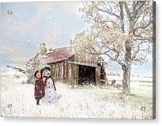 Farmstyle Snowman Acrylic Print