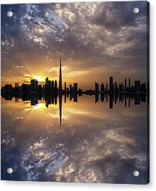 Fascinating Reflection In Business Bay District During Dramatic Sunset. Dubai, United Arab Emirates. Acrylic Print
