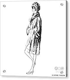 Fashion Girl In Fur Coat Acrylic Print