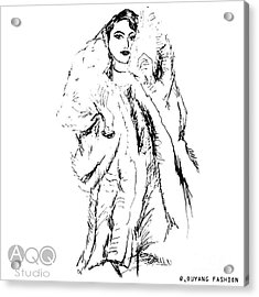 Fashion Lady In Fur Coat Acrylic Print