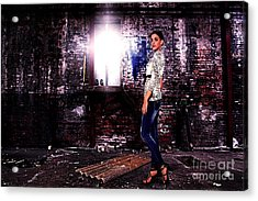 Fashion Model In Jeans  Acrylic Print by Milan Karadzic