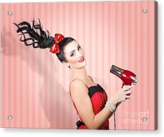 Fashion Model Straightening Long Brunette Hair Acrylic Print by Jorgo Photography - Wall Art Gallery