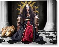 Fashion Queen In Crown Sitting In Jester Court Acrylic Print