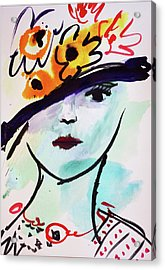 Fashion, Vintage Hat With Flowers Acrylic Print by Amara Dacer