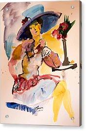 Fashion Woman With Blue Hat Acrylic Print by Amara Dacer