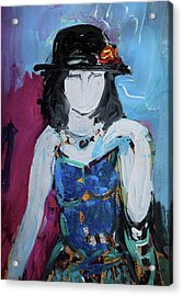 Fashion Woman With Vintage Hat And Blue Dress Acrylic Print by Amara Dacer