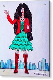 Fashionist Hailing A Taxi Acrylic Print by Don Pedro De Gracia