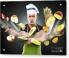 Fast Cook Slicing Vegetables In Mid-air Acrylic Print
