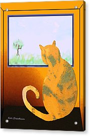 Fat Cat At Her Window Acrylic Print