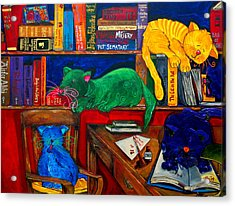 Fat Cats In The Library Acrylic Print by Patti Schermerhorn