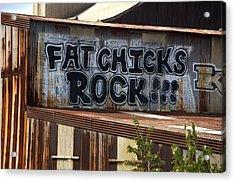 Fat Chicks Rock Graffiti Baltimore Maryland Acrylic Print by Wayne Higgs