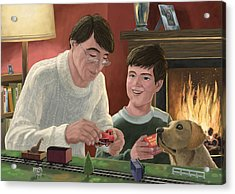 Father And Son Building Model Railway Acrylic Print by Martin Davey