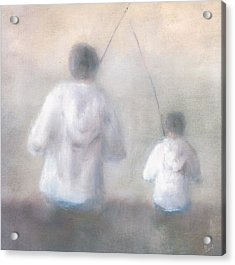 Father And Son Fishing Acrylic Print by Alan Daysh