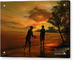 Father And Son Fishing Acrylic Print by Rob Corsetti