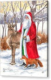 Father Christmas Acrylic Print by Barbel Amos