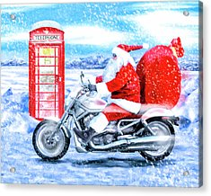 Acrylic Print featuring the mixed media Father Christmas Has A New Bike by Mark Tisdale