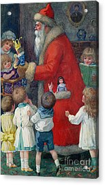 Father Christmas With Children Acrylic Print by Karl Roger
