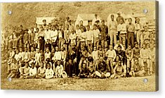 Father Damien And Boy Lepers Of Kalaupapa Acrylic Print by James Temple