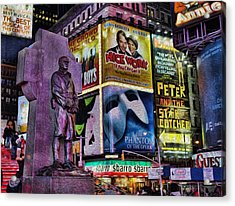 Father Duffy Watching Over Times Square Acrylic Print