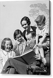 Father Reading To Family, C.1930s Acrylic Print by H. Armstrong Roberts/ClassicStock