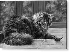 Favorite Toy - Black And White Acrylic Print
