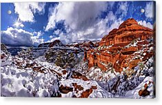 Fay Canyon Snowfall 2 Acrylic Print by ABeautifulSky Photography