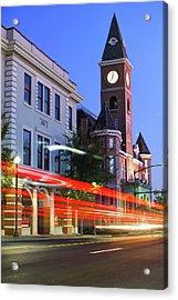Fayetteville Arkansas Skyline At Night Acrylic Print
