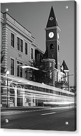 Fayetteville Arkansas Skyline At Night In Black And White Acrylic Print