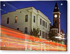 Fayetteville Skyline Long Exposure At Dusk Acrylic Print