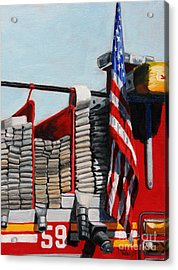 Fdny Engine 59 American Flag Acrylic Print by Paul Walsh