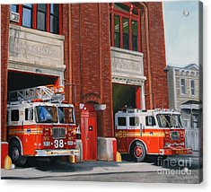Fdny Engine 88 And Ladder 38 Acrylic Print by Paul Walsh