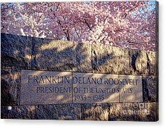 Fdr Memorial Marker In Washington D.c. Acrylic Print by Olivier Le Queinec
