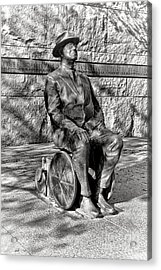 Fdr Memorial Sculpture In Wheelchair Acrylic Print by Olivier Le Queinec