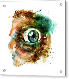 Fear Eye Watercolor Acrylic Print by Marian Voicu