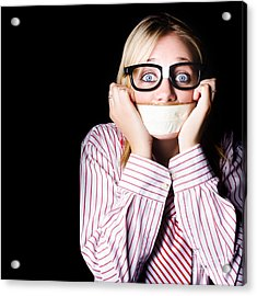 Fearful Business Nerd Silenced With Mouth Tape Acrylic Print
