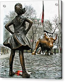 Fearless Girl And Wall Street Bull Statues 5 Acrylic Print