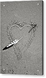 Feather Arrow Through Heart In The Sand Acrylic Print
