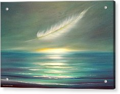 Feather At Sunset Acrylic Print