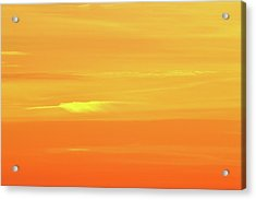 Feather Cloud In An Orange Sky  Acrylic Print by Lyle Crump