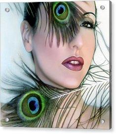 Feathered Beauty - Self Portrait Acrylic Print by Jaeda DeWalt