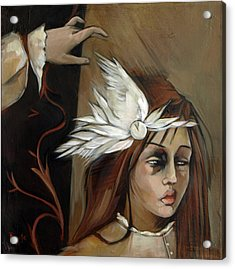 Feathers On Broken Girl Acrylic Print