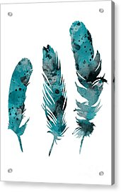 Feathers Watercolor Painting Acrylic Print