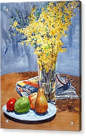 February Forthysia Acrylic Print by Peter Sit