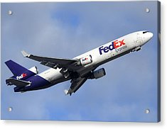 Fedex Mcdonnell-douglas Md-11f N605fe Phoenix Sky Harbor December 23 2010 Acrylic Print by Brian Lockett