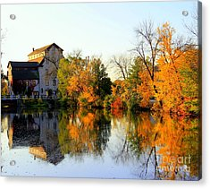 Feed Mill Fall Glow Acrylic Print by Carol Komassa