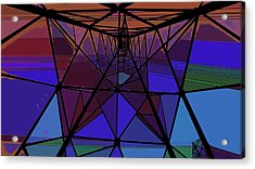 Feed To A Power Line Of Color Acrylic Print by Kenneth James
