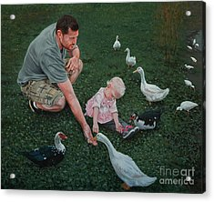 Feeding Ducks With Daddy Acrylic Print by Michael Nowak